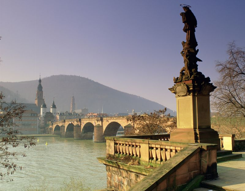 Heidelberg - View to the Old Bridge and the Old Town