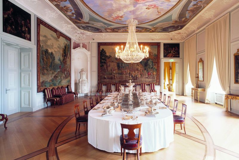 Mannheim Baroque Palace - Dining room with Baden Court Silver, Photo: Dirk Altenkirch SSG press photo